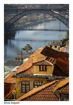 Fontainhas side by side with beautifull D Luiz I Bridge #Porto #Portugal .