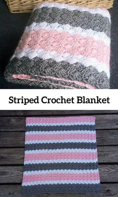 Crochet Pattern - Pink, White, and Grey Striped Baby Blanket #diy #crochet #affiliate #baby