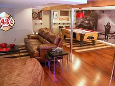 Basement Man Cave Inspiration and Ideas Remodel your manly living space with inspiration from over 50 of the best masculine man cave ideas. Discover interior design that's modern and respectable. Man Cave Designs, Man Cave Diy, Man Cave Home Bar, Man Cave Basement, Man Cave Garage, Basement Stair, Basement Bars, Basement Bathroom, Man Cave Inspiration