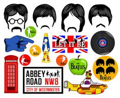 The Beatles inspired digital party characters are hand drawn and transferred digitally to print form. All copyrights are reserved to their respectful owners. * THIS PHOTO BOOTH CONTAINS * 4 Hairs with mustaches. 1 Yellow submarine. 9 Beatles signs. 1 Phone box. 1 Lava lamp. 1 Vinyl record. * MATERIALS REQUIRED * 1. Printer 2. Adobe Reader (free downloadable) 3. Cutting tools (scissors), Xacto Knife. 4. 8.5 x11 White Cardstock (I recommend 80 lb. cardstock, but 65 lb. will do). 5. Wooden d...