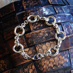 Hippie Chick Chain Maille Chain Mail Flower Weave Silver by Anhoki, $65.00