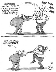 Atheist vs Non-Atheist  Those with their 'it's in the bag' religion are constantly on the defensive, with perpetual     pros·e·ly·tizing -   1.try to convert somebody: to try to convert somebody to a religious faith or political doctrine