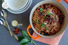 Sicilian-Style Fresh Whole Wheat Spaghetti Alla Norma Low Carb Recipes, Vegetarian Recipes, Cooking Recipes, Spaghetti Alla Norma, Delivery Menu, Whole Wheat Spaghetti, Meal Prep For The Week, Sicilian, Family Meals