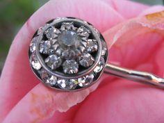 Silver and Rhinestone Deco Crystal Hair Pin