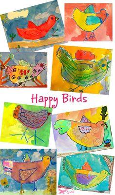 Watercolor Resist Lesson Oil pastels birds