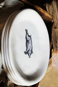 pink pig - Oval Pig Plates,  Who could resist these charming plates with their image of a butcher pig in center.  Perfect for the vintage style kitchen decor.  free shipping oh yeah!