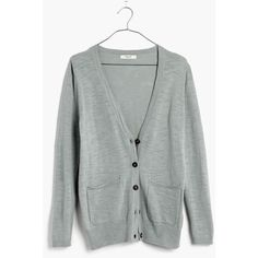 MADEWELL Graduate Cardigan Sweater ($40) ❤ liked on Polyvore featuring tops, cardigans, frosted cement, lightweight cardigan, madewell cardigan, button front cardigan, cardigan top and button front tops