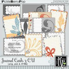Journal Cards 3 CU Digital Scrapbooking Supplies by Kathryn Estry @ PickleberryPop   $5.99