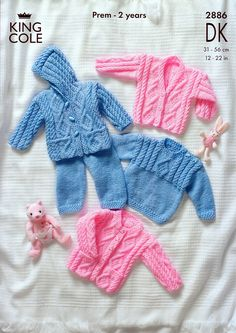 31 cm.Sweater, Jacket, Trousers and Cardigan in King Cole DK (2886) | Premature Baby Knitting Patterns | Knitting Patterns | Deramores