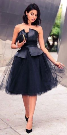 to equip a little black dress How to equip a little black dressHow to equip a little black dress Black Leather And Tulle Off Shoulder Party Dress by Vivaluxury - engagement outfit diff color tho Playing Dress up :: What to Wear on new Year's eve African Fashion Dresses, African Dress, Fashion Outfits, Dress Fashion, Fashion Ideas, Fashion Inspiration, Fashion Trends, Evening Dresses, Prom Dresses