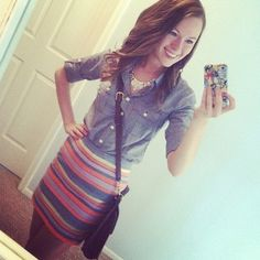 Chambray and a j. crew skirt.