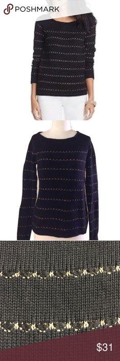 "Ann Taylor LOFT Sz M Shimmery Stripe Sweater NWOT 🔸Ann Taylor LOFT Sz M Shimmery Stitch Stripe Sweater NWOT🔸Size M🔸Black/Gold Metallic colors🔸Long Sleeve🔸Bust 34-36""-17"" across laying flat🔸Length 25 1/2""🔸Sleeve Length 29""🔸Waist 17 1/2""🔸Rayon/Cotton/Acrylic/Nylon blend🔸NWOT LOFT Sweaters Crew & Scoop Necks"