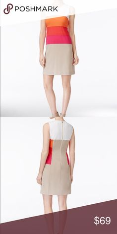 Calvin Klein sleeveless coloblocked sheath dress Calvin Klein sleeveless coloblocked sheath dress,imported,polyester /rayon /spandex, dry clean , scoop neckline, back sipper closure, sleeveless ,lined Calvin Klein Dresses Midi