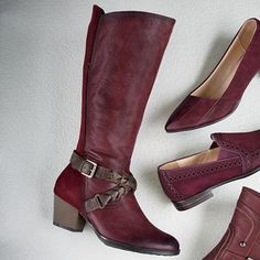 Orchard Boot by Earth Inc. from Monroe and Main.  Genuine full-grain leather as deep and supple as this in front deserves graceful styling and a sturdy, fancy-braided strap.