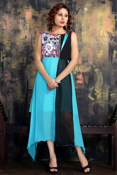 Georgette Printed Party Wear Kurti in Blue Colour...