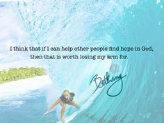 We want to congratulate Bethany Hamilton, Soul Surfer, on her pregnancy! Such an inspirational story & beautiful human being! Help us send best wishes her way! Helping Other People, Helping Others, Bethany Hamilton Quotes, K Love Radio, Attitude, Surfing Quotes, The Notebook, Hope In God, Soul Surfer