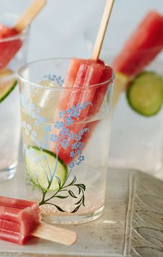 Pop these refreshing watermelon and cucumber lollies into a classic gin and tonic or some lemonade for a fun alternative to ice cubes.
