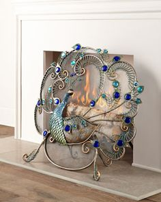 Peacock Fireplace Screen by Janice Minor at Horchow. #HORCHOWHOLIDAY14