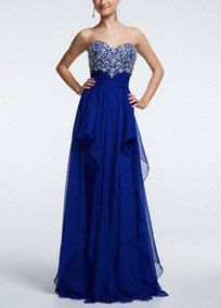 The queen has arrivedand she's ready to have the time of her life!  Strapless sweetheartprom dress features glittering beaded bodice.  Chiffon skirt with stylish waterfall ruffles add movement and finish off the look.  Fully lined. Side zip. Imported polyester. Dry clean. Available in Plus sizes as Style DB37W.