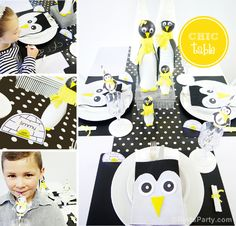 Kids' Holiday Table - Part 3: Penguin Inspired Table + FREEBIES