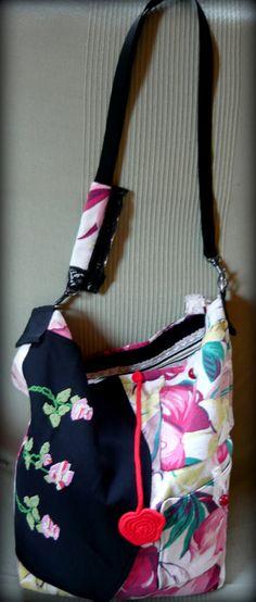 Handmade by Judy Majoros - Floral crossbody bag. Recycled bag Vállon  Átvethető Táska bc921186c6