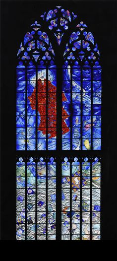 Window 'Peace and forbearance' in tje St Bavo Church in Haarlem, designed by artist Michel van Overbeeke.