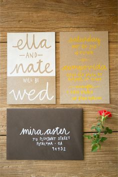 Eco-chic wedding invitations in yellow and kraft / Larissa Cleveland Photography