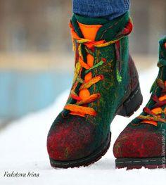 """Купить Ботинки и гетры""""Fire"""",по мотивам ботинок """"Сhameleon"""". - тёмно-зелёный, изумрудный, оранжевый, бордо, ботинки"""