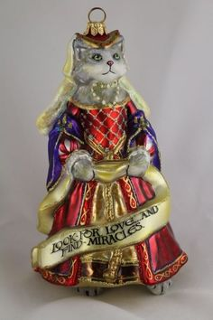 Catherine of Aragon Cat Angel Wings Polish Hand Painted Glass Christmas Ornament in Collectibles, Holiday & Seasonal, Christmas: Current (1991-Now) | eBay