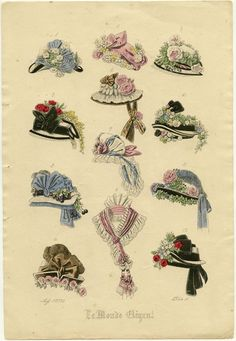 History of Victorian hats and bonnets and Ladies hats styles illustrated. Victorian Hats, Victorian Fashion, Vintage Fashion, 1800s Fashion, Victorian Costume, French Fashion, Women's Fashion, Jean Délavé, Travel Hat