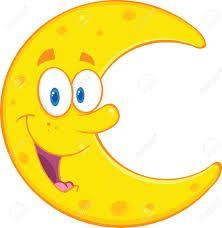 Smiling Moon Cartoon Mascot Character Illustration Isolated on white Illustration ,