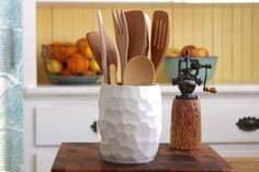 Hand Carved Kitchen Utensil Holder - Geometric Modern Home Decor - Creamy White - Hand Thrown Vase - Ready to Ship on Etsy, Sold