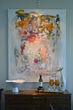 This abstract art piece from Sophia Fine Art is the perfect back-drop for a home beverage bar.