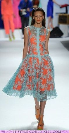 Nanette Lepore Spring 2012 collection I have to find a Pale blue lace dress to replicate this look! Vestidos Fashion, Fashion Dresses, Pretty Dresses, Beautiful Dresses, Fashion Tips For Women, Womens Fashion, Day Dresses, Summer Dresses, Mode Chanel
