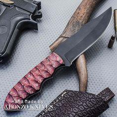 ALONZO KNIVES USA CUSTOM HANDMADE SURVIVAL HUNTING 1095 KNIFE WOOD HANDLE 1395 #AlonzoKnives