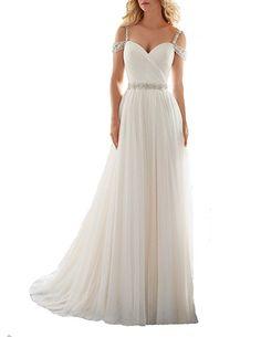 TBGirl Romantic A-line Straps Beading Long Soft Tulle Beach Wedding Dresses,Ivory,2