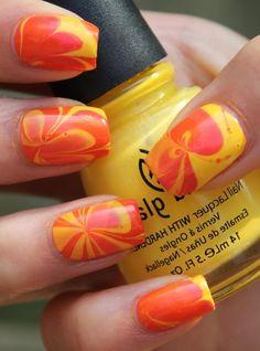 23 Creative Nails #orange #yellow #marble #nails