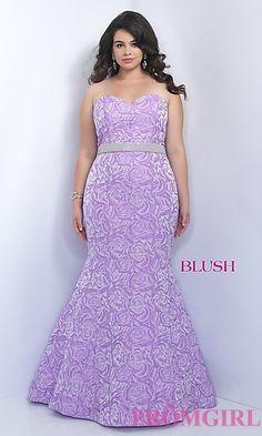 Purple Print Mermaid Style Plus Size Prom Dress by Blush at PromGirl.com  Unique Prom f1de0157fede
