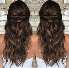 37 beautiful half up half down hairstyles_twisted hair 5 frisuren haare hair hair long hair short Wedding Hair Half, Wedding Hairstyles Half Up Half Down, Bride Hairstyles Down, Half Up Half Down Wedding Hair, Bridal Hair Half Up With Veil, Half Up Hair Do, Half Up Curls, Casual Wedding Hair, Hair Style Bride