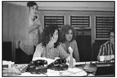 Jimmy Page and Robert Plant of Led Zeppelin during the recording of 'Whole Lotta Love' at A&M Studios in Los Angeles, May 1969.