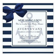 Nautical Navy Ribbon Anchor It's a Boy Baby Shower Card Nautical Baby Shower invitation featuring white and navy stripes with anchors and a ribbon.