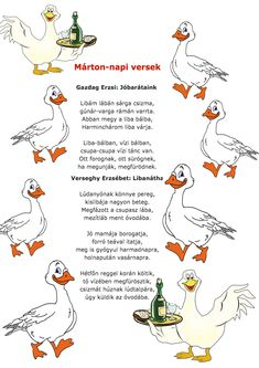 Nyomtatható Márton napi vers. Hl Martin, Nursery School, Stories For Kids, Cool Kids, Fall Decor, Art For Kids, Diy And Crafts, Kindergarten, Poems