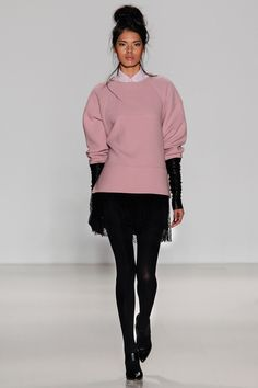 Marissa Webb | Fall 2014 - Blush round shouldered pullover layered over a shirt with lace mini.