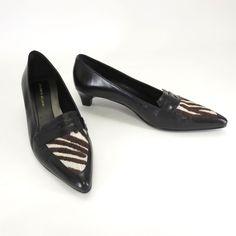 e231a619b8bb Antonio Melani Shoes Size 8 Paloma Black Leather Calf Hair Heels Womens  Pumps