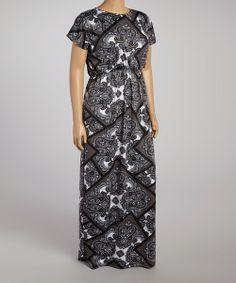 Look what I found on #zulily! Grey & Black Damask Maxi Dress - Plus by GLAM #zulilyfinds