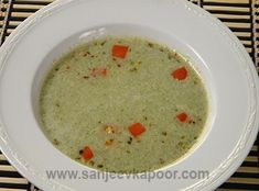 Cream of Broccoli Soup Recipe - A rich and delicious soup made with broccoli. Creamy Soup Recipes, Broccoli Soup Recipes, Cream Of Broccoli Soup, Veg Recipes, Vegetarian Recipes, Cooking Recipes, Fresh Broccoli, Recipies, Roasted Pepper Soup
