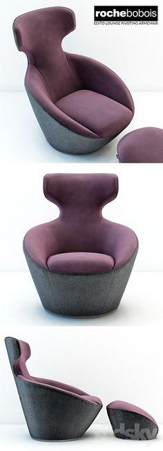 3d models: Arm chair - Roche bobois Edito lounge pivoting armchar
