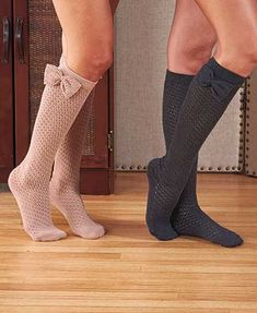 Draw admiring attention to your legs with 2-Pair Crochet Knee-High Socks with Bows. Perfect for wearing with boots, these classic socks are super-soft and light