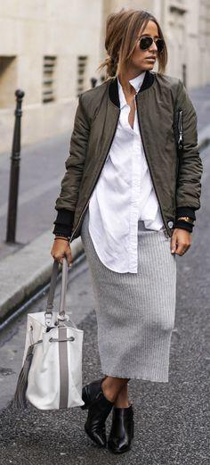 Bomber jacket trend + maxi skirt + Camille Callen + skirt/bomber + Sixth June + Forever 21.   Jacket: Sixth June, Shirt: Sheinside, Skirt: Forever21, Shoes: Clarks.