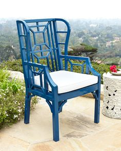 Blue Chinoiserie Outdoor Wing #Chair at #Horchow.